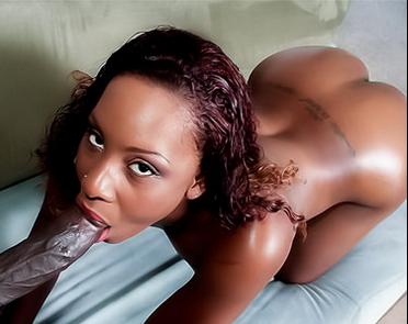 Ebony girl sucking a big black cock
